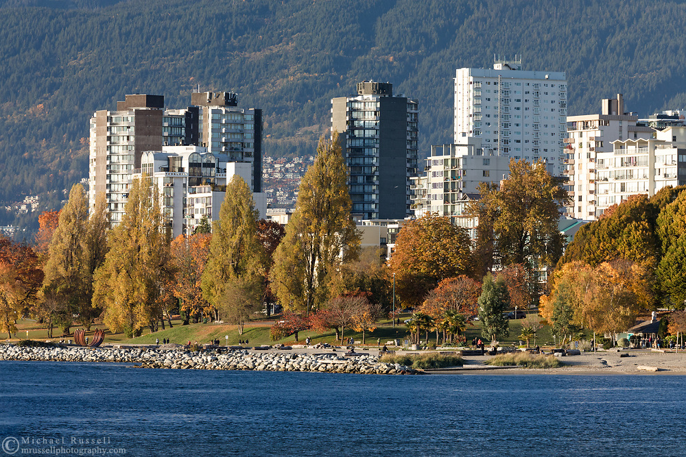 Sunset Beach and apartment towers in the West End of Vancouver photographed on a fall day. View from Granville Island in Vancouver, British Columbia, Canada.