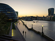 Gre0094991 . Daily Telegraph <br /> <br /> DT News<br /> <br /> City Hall and the southbank at sunset . <br /> <br /> Empty streets in London's financial district after the Easter weekend  . Britain is still in lockdown due to the Covid-19 pandemic which has cost over 1000 loves .<br /> <br /> London 14 April 2020