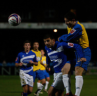 Photo: Steve Bond/Sportsbeat Images.<br />Macclesfield Town v Hereford United. Coca Cola League 2. 26/12/2007. Sub Steve Guinan (R) gets in a late header