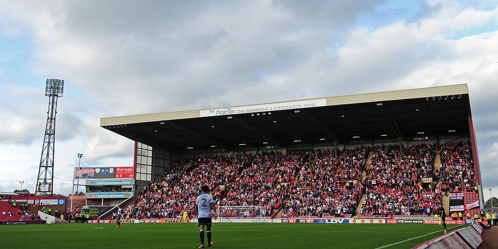 Middlesbrough fans fans watch their team in action <br /> <br /> Photographer Chris Vaughan/CameraSport<br /> <br /> The EFL Sky Bet Championship - Barnsley v Middlesbrough - Saturday 14th October 2017 - Oakwell - Barnsley<br /> <br /> World Copyright © 2017 CameraSport. All rights reserved. 43 Linden Ave. Countesthorpe. Leicester. England. LE8 5PG - Tel: +44 (0) 116 277 4147 - admin@camerasport.com - www.camerasport.com