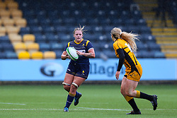 Taz Bricknell of Worcester Warriors Women looks to take on Abby Dow of Wasps FC Ladies - Mandatory by-line: Nick Browning/JMP - 24/10/2020 - RUGBY - Sixways Stadium - Worcester, England - Worcester Warriors Women v Wasps FC Ladies - Allianz Premier 15s