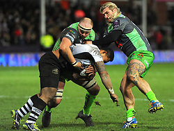 Richard Hibbard of Gloucester Rugby battles with Faialaga Afamasaga of Zebre Rugby Club-Mandatory by-line: Nizaam Jones/JMP- 16/12/2017 - RUGBY - Kingsholm - Gloucester, England - Gloucester Rugby v Zebre Rugby Club- European Rugby Challenge Cup