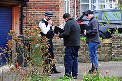 © Licensed to London News Pictures.13/04/2018<br /> HITHER GREEN, UK.<br /> TWO WORKMEN GO INTO THE PROPERTY WITH A POLICEMAN AT MIDDAY.<br />  Hither Green Burglary Murder. South Park Crescent,Hither Green.<br />  Home of 78 year old Richard Osborn-Brooks who stabbed a burglar to death in his home.<br /> Photo credit: Grant Falvey/LNP