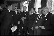 01/04/1963<br /> 04/01/1963<br /> 01 April 1963<br /> SPAR reception at the Shelbourne Hotel, Dublin. The reception announced the formation of SPAR (Ireland) Ltd. comprised of the Irish Wholesale Grocers Firms: Amalgamated Wholesalers Ltd., (P. Barrett and Sons Ltd., Dublin; D. Tyndall and Sons Ltd., Dublin and McNulty and O'Reilly Ltd., Bray); Munster United Merchants Ltd., (Maurice P. Daly Ltd., Cork and The Jamaica Banana Co. Cork) and Messrs Looney and Co. Ltd., Limerick. Mr. J. Pearson, British Trade Commissioner; Mr. Richard L. Read; Mr. C.H. Wilms Floet; Mr. M.J. O'Reilly; Mr. D. Tyndall and Mr. Robert Thompson, Chairman and Managing Director of Williams and Woods.