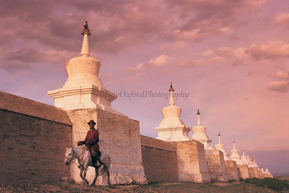 Outer wall & horseman<br /> Eden Kuu Khiid Monastery<br /> Kara Korum<br /> Mongolia