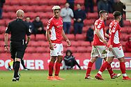 Charlton Athletic attacker Lyle Taylor (9) talking to the ref after goal during the EFL Sky Bet League 1 match between Charlton Athletic and Rochdale at The Valley, London, England on 4 May 2019.