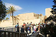Israel, Caesarea, The Crusader's walls and fortification a group of school children visiting the site