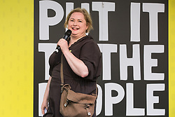 London, UK. 23rd March, 2019. Actress Siobhan McSweeney addresses a million people taking part in a People's Vote rally in Parliament Square following a march from Park Lane.