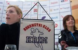 Deja Doler Ivanovic and Coach Marta Bon at press conference of RK Krim Mercator before the Championship league match Krim Mercator vs Györi AUDI ETO KC, on February 4, 2009, in Ljubljana, Slovenia. (Photo by Vid Ponikvar / Sportida)