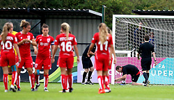 The goal netting is repaired ahead of the second half of Bristol City Women vs Everton Ladies in Women's Super League 2 - Mandatory by-line: Robbie Stephenson/JMP - 27/08/2016 - FOOTBALL - Stoke Gifford Stadium - Bristol, England - Bristol City Women v Everton Ladies - FA Women's Super League 2