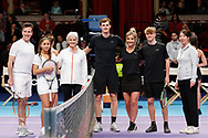 Anton du Beke, Helen Skelton, Jamie and Judie Murray during a celebrity doubles match at the Men's Finals Champions Tennis match at the Royal Albert Hall, London, United Kingdom on 9 December 2018. Picture by Ian Stephen.
