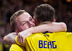 November 20, 2018 - Stockholm, SWEDEN - 181120 Marcus Berg of Sweden celebrates with his teammate Sebastian Larsson after scoring the 2-0 goal during the Nations League football match between Sweden and Russia on November 20, 2018 in Stockholm  (Credit Image: © Dennis Ylikangas/Bildbyran via ZUMA Press)