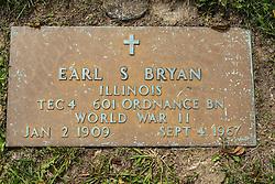 31 August 2017:   Veterans graves in Park Hill Cemetery in eastern McLean County.<br /> <br /> Earl S Bryan  Illinois TEC4 601 Ordnance BN World War II Jan 2 1909 Sept 1967
