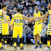 04 March 2016: Denver Nuggets guard D.J. Augustin (12) is congratulated by Denver Nuggets forward Will Barton (5), Denver Nuggets forward Darrell Arthur (00) and Denver Nuggets forward Axel Toupane during the Brooklyn Nets 121-120 victory over the Denver Nuggets, at the Pepsi Center, Denver, Colorado, USA.