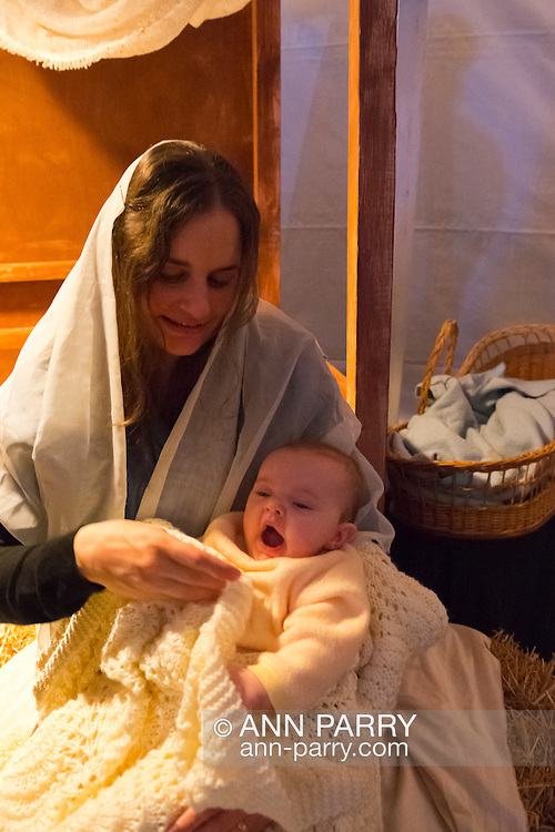 Madonna and Child, at Living Nativity at A Night in Bethlehem, an annual Advent event at the Lutheran Church of the Resurrection, at Garden City, New York, USA, on December 6, 2013.