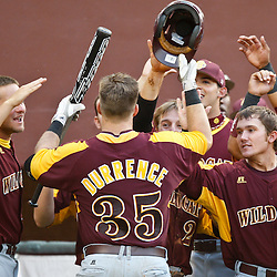 June 03, 2011; Tallahassee, FL, USA; Bethune-Cookman Wildcats Ryan Durrence (35) celebrates following a homerun during the sixth inning of the Tallahassee regional of the 2011 NCAA baseball tournament against the Florida State Seminoles at Dick Howser Stadium. Mandatory Credit: Derick E. Hingle