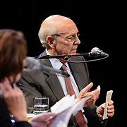 NHPR's Virginia Prescott interviews US Supreme Court Justice Stephen Breyer during a Writers on a New England Stage show at The Music Hall in Portsmouth, NH.