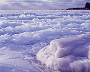 Jumbled ice plates along the shore of Lake Huron just south of Sturgeon Point, Sturgeon Point State Park, Michigan.