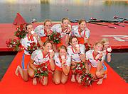 Shunyi, CHINA. GBR M8+,  Women's eights final, <br /> Silver medalist (b), DEKKER Femke, SMULDERS Marlies, KINGMA Nienke, REPELAER van DRIEL Roline, van RUMPT Annemarieke, TANGER Helen<br /> SIEGELAAR Sarah, de HAAN Annemiek and cox,  WORKEL Ester <br />  at the 2008 Olympic Regatta, Shunyi Rowing Course.  17/08/2008 [Mandatory Credit: Peter SPURRIER, Intersport Images