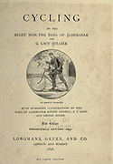 man is teaching a child to ride a bicycle the frontispiece from 'Cycling' by The right Hon. Earl of Albemarle, William Coutts Keppel, (1832-1894) and George Lacy Hillier (1856-1941); Joseph Pennell (1857-1926) Published by London and Bombay : Longmans, Green and co. in 1896. The Badminton Library