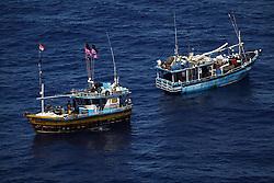 INDIAN OCEAN 24MAR13 - Unidentified Sri Lankan fishing vessels drift in the Chagos EEZ in the Indian Ocean.<br /> <br /> <br /> <br /> The Greenpeace ship Esperanza is on patrol in the Indian ocean documenting illegal fishing vessels.<br /> <br /> <br /> <br /> jre/Photo by Jiri Rezac / Greenpeace