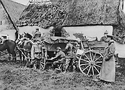 World War I 1914-1918: German horse-drawn mobile field telephone unit operating in France, 1915.   Military,  Army, Communications, Technology