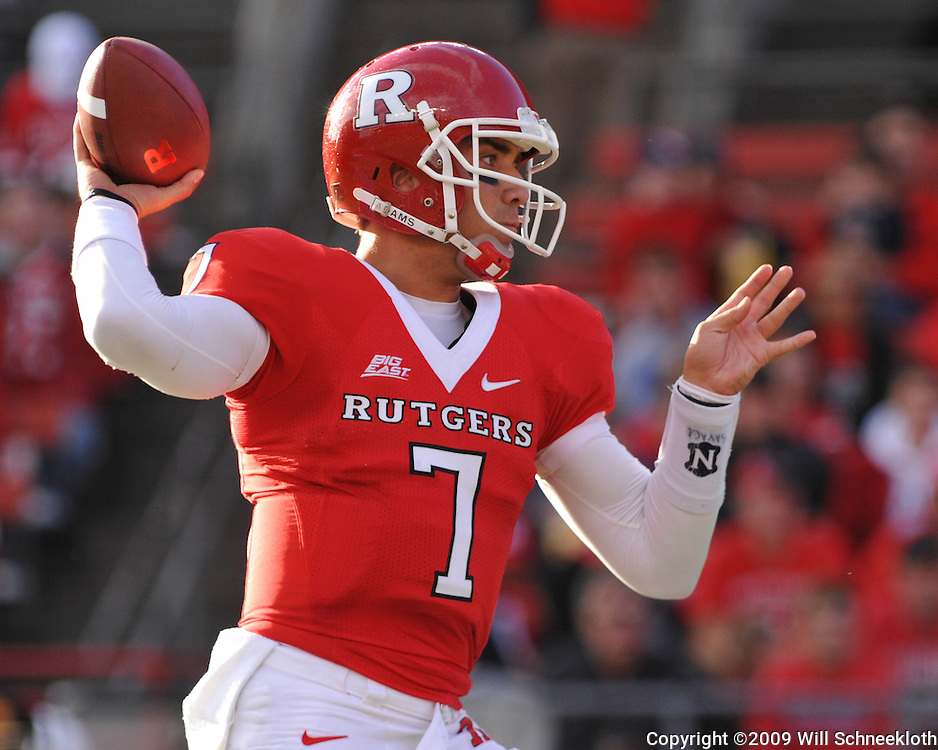 Oct 10, 2009; Piscataway, NJ, USA; Rutgers quarterback Tom Savage (7) throws a pass during first half NCAA college football action between Rutgers and Texas Southern at Rutgers Stadium.