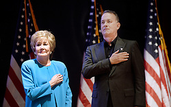 """Actor and Campaign Chair Tom Hanks and Elizabeth Dole Foundation Founder and President Elizabeth Dole looks on during the launch of """"Hidden Heroes"""" campaign at the Capitol September 27, 2016 in Washington, DC. The Hidden Heroes campaign has been created to generate stronger support for America's 5.5 million military and veteran caregivers. Photo by Olivier Douliery/Abaca"""