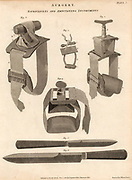 Knives and tourniquets used for amputation. The tourniquets not only stemmed the flow of blood, they also induced numbness, so reducing pain.   However, they caused considerable damage to tissue in the process. Engraving from 'Cyclopaedia' edited by Abraham Rees (London, 1820).