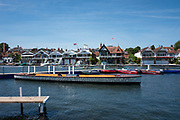 """Henley on Thames, United Kingdom, 2nd July 2018, Monday,   """"Henley Royal Regatta"""",  view, Practice day, at Henley, """"in preparation"""",  for the start of the """"Annual Royal Regatta"""" on Wednesday 4th July, Henley Reach, River Thames, Thames Valley, England, © Peter SPURRIER,"""