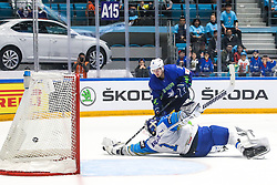 Anze Kuralt of Slovenia vs Henrik Karlsson of Kazakhstan during ice hockey match between Slovenia and Kazakhstan at IIHF World Championship DIV. I Group A Kazakhstan 2019, on April 29, 2019 in Barys Arena, Nur-Sultan, Kazakhstan. Photo by Matic Klansek Velej / Sportida