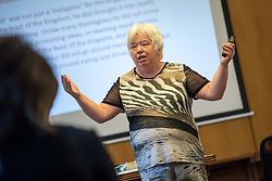 20 September 2017, Geneva, Switzerland: Bible study led by Clare Amos on the theme of Diakonia and Development at the Ecumenical Centre in Geneva, as World Council of Churches staff gather for the annual Staff Enrichment Days.