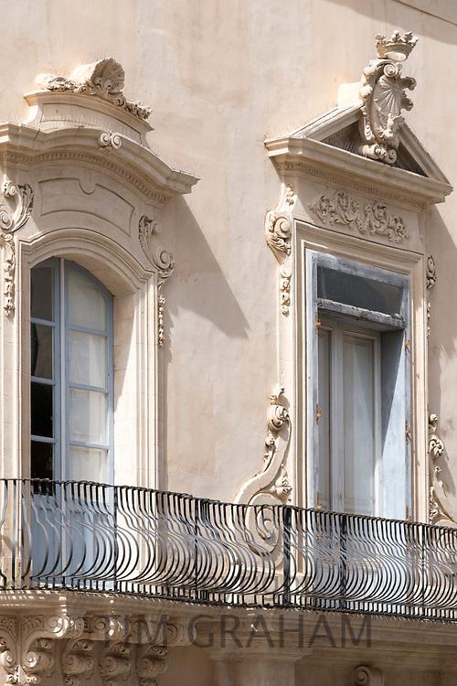 Goose breast ironwork balcony of Palazzo Rau Della Ferla in Noto city, Sicily, Italy