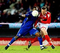 Fotball, UEFA-Cup , 13 Februar 2008, Brann - Everton, Ayegbeni Yakubu, Everton, Bjørn Dahl, Brann.<br /> <br /> <br /> <br /> Foto: Kjetil Espetvedt, Digitalsport.