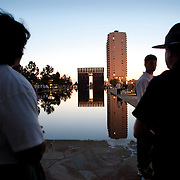 The memorial to the vicitims of the terrorist act in Oklahoma City. On April 19th, 1995, Timoth McVeigh detonated a truck bomb and blew up the Oklahoma City Federal Building.