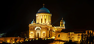 Exterior of the Neo Classical Esztergom Basilica at night , Cathedral ( Esztergomi Bazilika ), Hungary. .<br /> <br /> Visit our HUNGARY HISTORIC PLACES PHOTO COLLECTIONS for more photos to download or buy as wall art prints https://funkystock.photoshelter.com/gallery-collection/Pictures-Images-of-Hungary-Photos-of-Hungarian-Historic-Landmark-Sites/C0000Te8AnPgxjRg