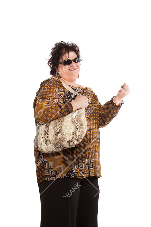 portrait of cheerful woman with a bag, isolated on white background