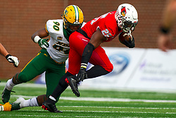 NORMAL, IL - October 05: Tony Pierce pursues James Robinson  during a college football game between the ISU (Illinois State University) Redbirds and the North Dakota State Bison on October 05 2019 at Hancock Stadium in Normal, IL. (Photo by Alan Look)