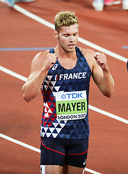 London, August 12 2017 . Kevin Mayer, France, celebrates winning the decathlon on day nine of the IAAF London 2017 world Championships at the London Stadium. © Paul Davey.
