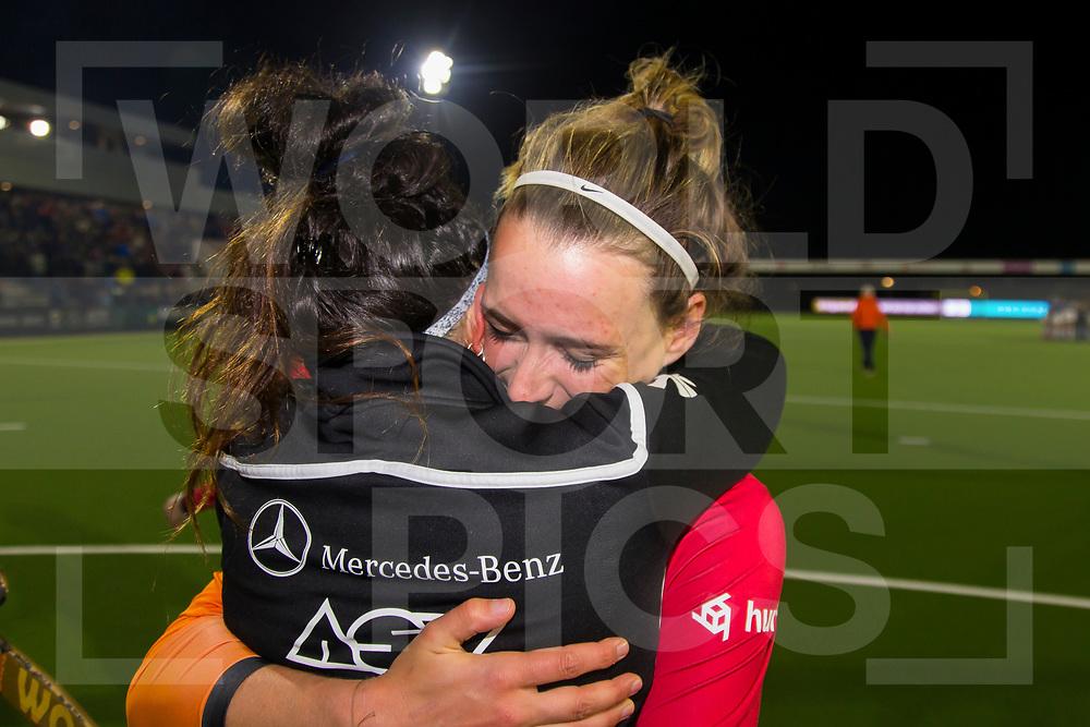 Eindhoven - Oranje Rood - Hurley Dames, Finale Gold Cup, Seizoen 2018-2019, 02-05-2019, Oranje Rood - Hurley 1-1, Oranje Rood wint na shootouts,  Donja Zwinkels (OR) en Maria Jose Granatto (OR)<br /> <br /> (c) Willem Vernes Fotografie