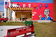16 JULY 2020 - BOONE, IOWA: a mural supporting President Donald Trump in downtown Boone, IA. Carl McKnight, a Boone realtor and Donald Trump supporter, commissioned the mural, which he calls nothing more than a campaign sign. Some in Boone, a community about 45 miles northwest of Des Moines, are concerned that the mural, which dominates a new park and bandshell in Boone, is not appropriate in a space shared by all people. A Boone city councilperson said people who donated to the fund to build the park have asked for their donations back. McKnight said the mural will stay up until at least election day.                PHOTO BY JACK KURTZ