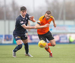 Falkirk's Ciaran McKenna andDundee United's Pavol Safranko. Falkirk 1 v 1 Dundee United, Scottish Championship game played 23/2/2019 at The Falkirk Stadium.