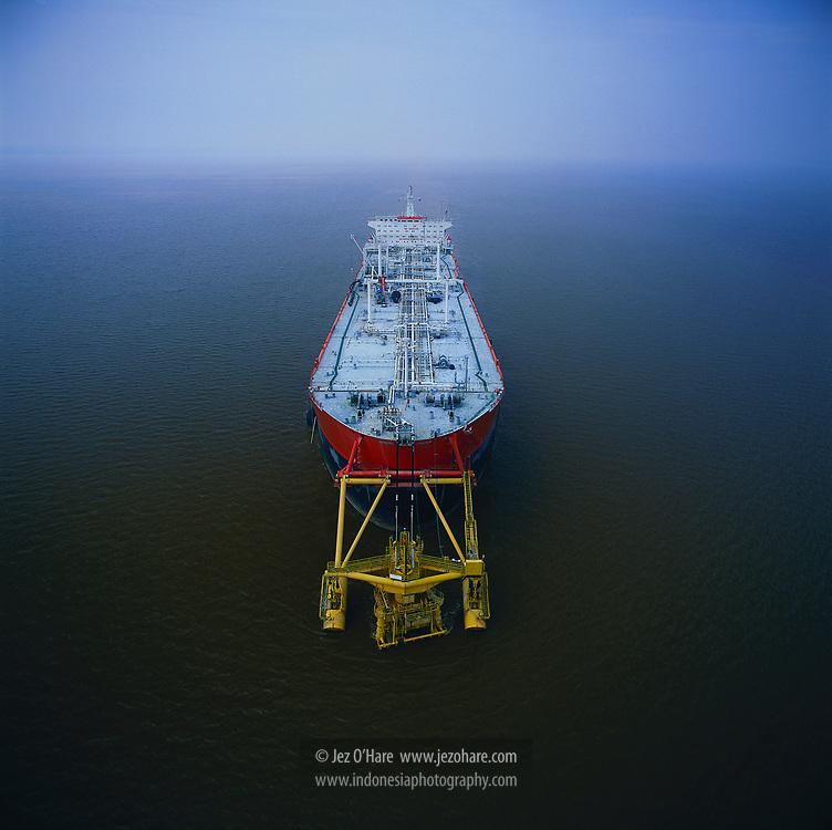 Floating storage oil tanker, Riau, Sumatra, Indonesia.