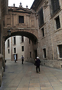 Historic stone archer passageway, part of the cathedral building, city of Valencia, Spain