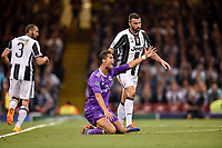 Cristiano Ronaldo of Real Madrid protests with the referee during the UEFA Champions League Final match between Real Madrid and Juventus at the National Stadium of Wales, Cardiff, Wales on 3 June 2017. Photo by Giuseppe Maffia.<br /> <br /> Giuseppe Maffia/UK Sports Pics Ltd/Alterphotos