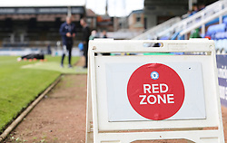 A general view of a Red Zone sign at the Weston Homes Stadium, home of Peterborough United - Mandatory by-line: Joe Dent/JMP - 05/09/2020 - FOOTBALL - Weston Homes Stadium - Peterborough, England - Peterborough United v Cheltenham Town - Carabao Cup