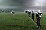 Middletown, NY - Middletown prepares to kickoff toCornwall in a foggy Orange County Youth Football League Division 3 game on Oct. 3, 2009.