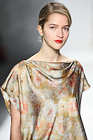 Lydia Carron walks down runway for F2012 Tadashi Shoji's collection in Mercedes Benz fashion week in New York on Feb 9, 2012 NYC