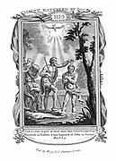 John the Baptist baptising Jesus. 'Bible' Mark 1. 9. Copperplate engraving c1808