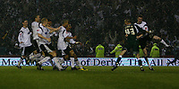 Photo: Steve Bond.<br />Derby County v Southampton. Coca Cola Championship. Play Off Semi Final, 2nd Leg. 15/05/2007. Derby County celebrate in the torrential rain